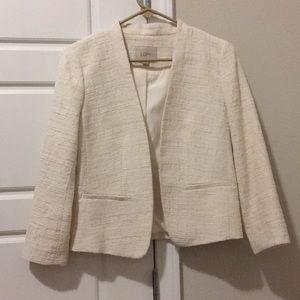 LOFT Cropped White Tweed Blazer -XS Petite